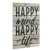 """Happy Mind, Happy Life"" Wood Wall Art Decor 
