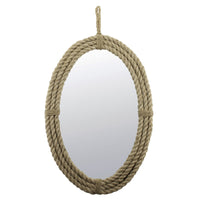 Oval Mirror with Rope and Hanging Loop