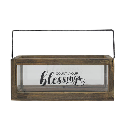 Rustic Rectangular Wood and Glass Tray Rail Candle Holder