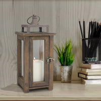 Rustic Wooden Hurricane Candle Lantern with Handle and Hinged Door