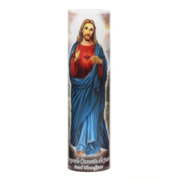Jesus Flameless LED Devotional Prayer Candle with Automatic Timer
