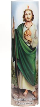 St. Jude Flickering LED Prayer Candle with Automatic Timer