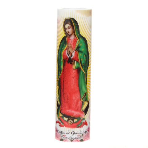 Virgin of Guadalupe Flameless LED Prayer Candle with Timer
