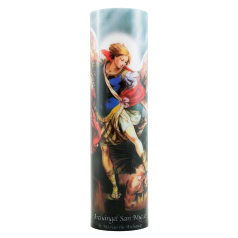 St. Michael Flickering LED Prayer Candle with Timer