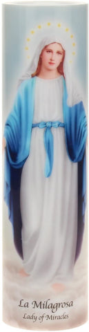 Lady of Miracles Flickering LED Prayer Candle with Timer