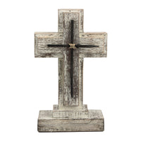 "9"" Wooden Pedestal Cross with Metal Details"
