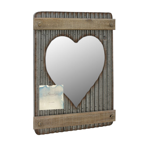 Corrugated Metal and Wood Heart Shaped Mirror