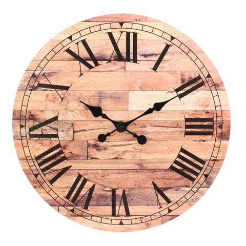 "18"" Roman Numeral Wooden MDF Wall Clock"