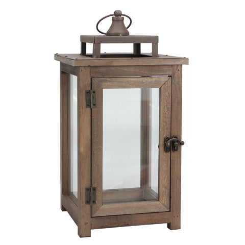 15-Inch Wooden Hurricane Candle Lantern with Handle