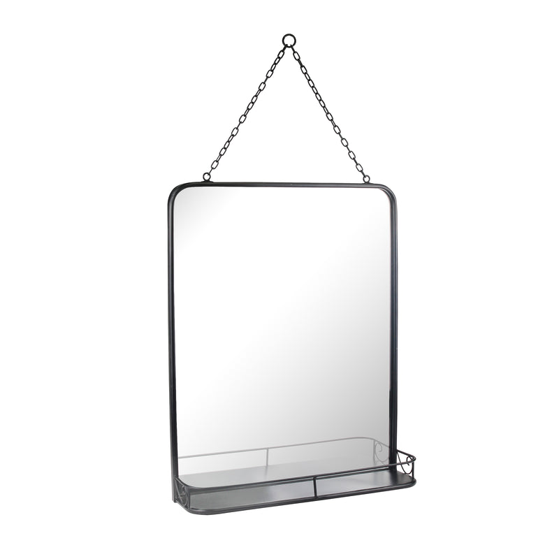 Rectangle Black Metal Wall Mirror with Hanging Chain and Shelf
