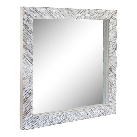 Square Textured Worn White Wooden Chevron Hanging Wall Mirror