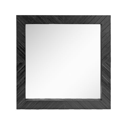 Square Textured Black Wooden Chevron Hanging Wall Mirror