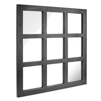 Square Rustic 9 Panel Window Pane Hanging Wall Mirror | Stonebriar Collection