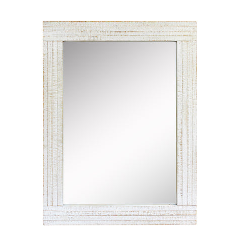 Rustic Rectangular Worn White Wood Frame Hanging Wall Mirror | Stonebriar Collection