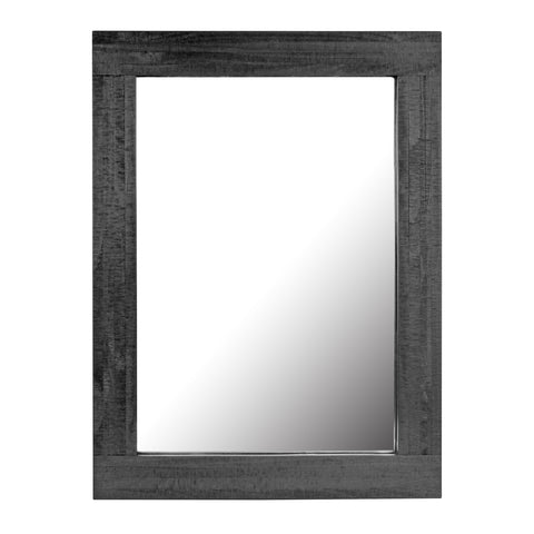 Rustic Rectangular Black Painted Wood Frame Hanging Wall Mirror