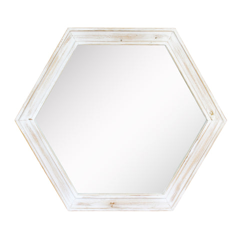"24"" Hexagon Hanging Wall Mirror with Worn White Painted Wood Frame"