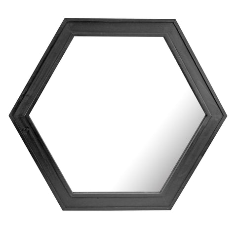 "24"" Hexagon Hanging Wall Mirror with Black Painted Wood Frame"