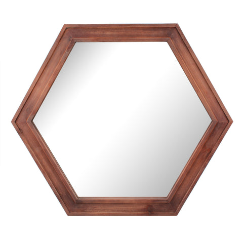 "24"" Hexagon Hanging Wall Mirror with Redwood Stained Wood Frame"