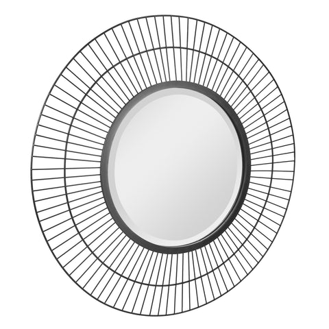 "24"" Decorative Modern Round Metal Wire Mirror for Wall"