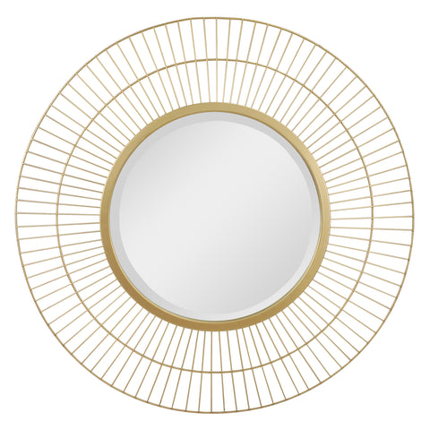 "24"" Decorative Modern Round Metal Wire Wall Mirror"