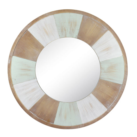 "27.5"" Circular Tricolor Wood Wall Mirror"