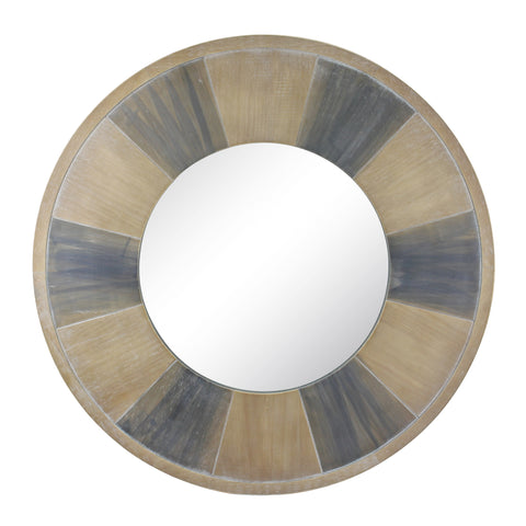 "27.5"" Circular Two Tone Wood Wall Hanging Mirror"
