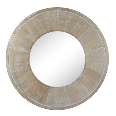 "27.5"" Circular White Wash Wooden Mirror for Wall"