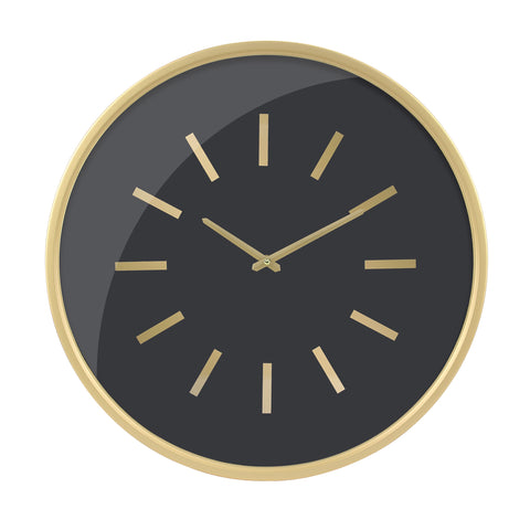 Round Open Face Black Clock with Gold