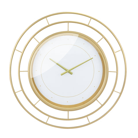 Round Open Face White Clock with Gold Concentric Wire