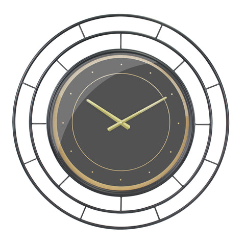 Round Open Face Black Clock with Black Concentric Wire