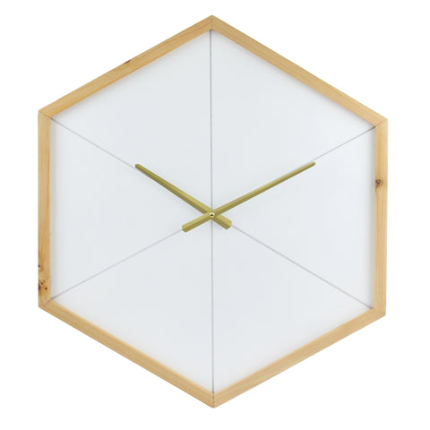 Wood Octagon Open Face White with Gold Clock
