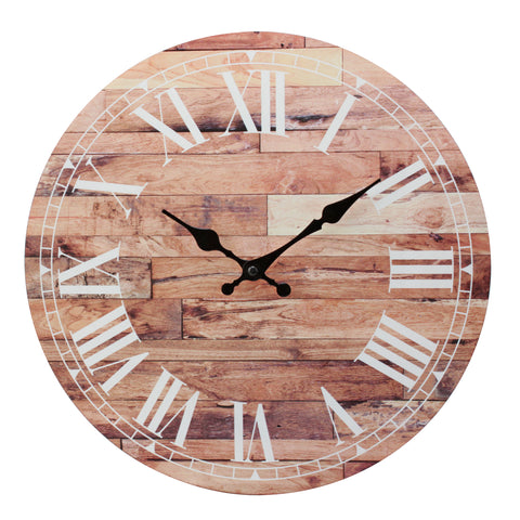"14"" Roman Numeral Wooden MDF Wall Clock"