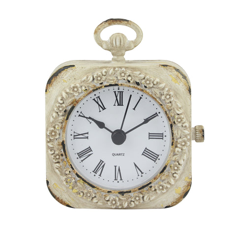 Small 4 Inch Decorative Table Top Clock with Roman Numerals and Antique White Finish