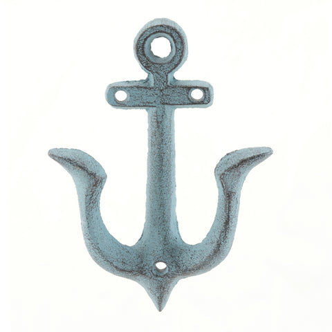 Worn Denim Blue Cast Iron Anchor Wall Hook | Stonebriar Collection