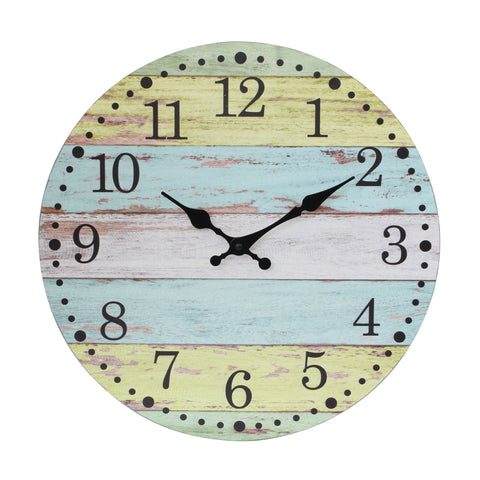 Rustic Blue and Yellow Wood Clock | Stonebriar Collection