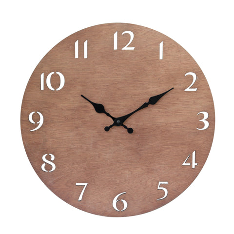 Brown Natural Wood Contemporary Wall Clock | Stonebriar Collection