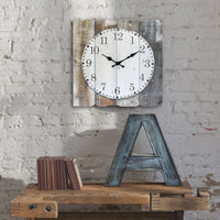 Square Rustic Wood Wall Clock | Farmhouse Home Decor | Stonebriar Collection