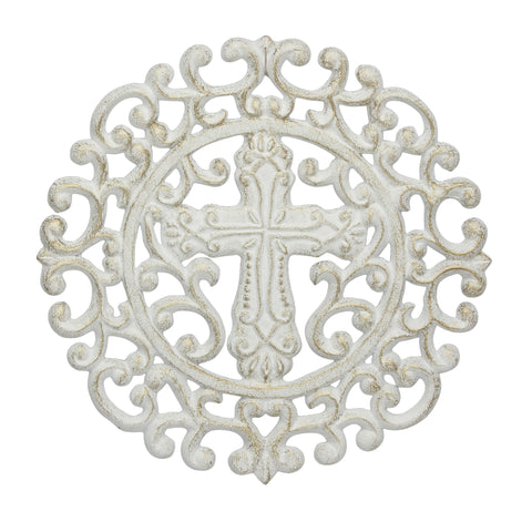 White & Gold Cast Iron Round Cross Trivet | Stonebriar Collection