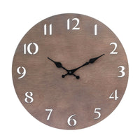 Dark Brown Natural Wood Wall Clock | Mid Century Modern Decor | Stonebriar Collection