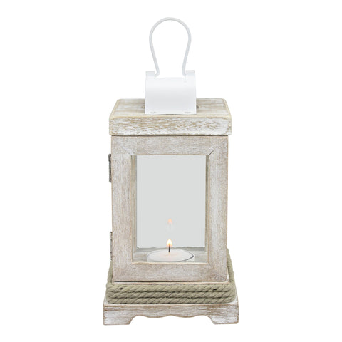 Weathered White Wood & Metal Lantern | Nautical Home Decor | Stonebriar Collection