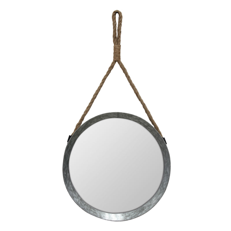Rustic Round Galvanized Mirror with Rope Hanging Loop