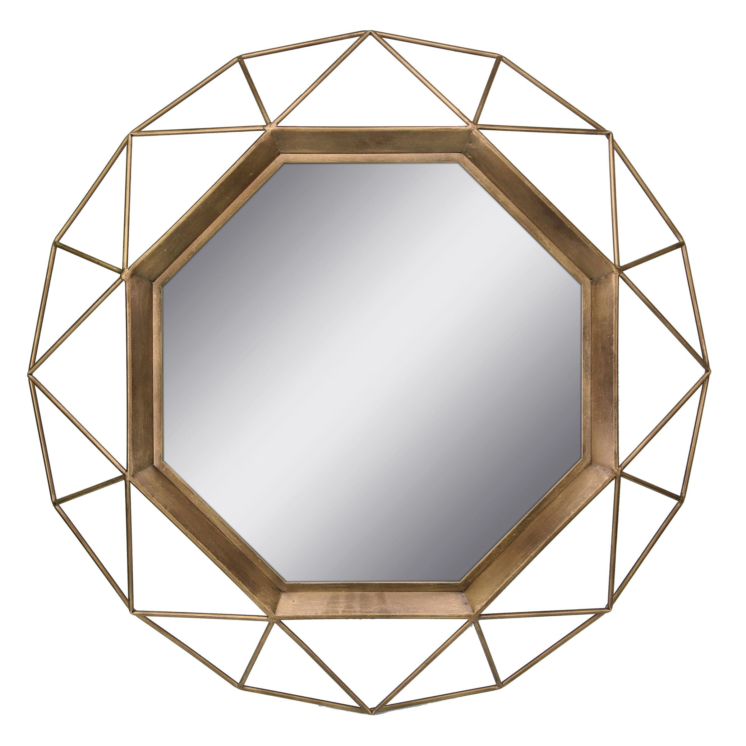 Antique Gold Geometric Mirror - 30 Inch