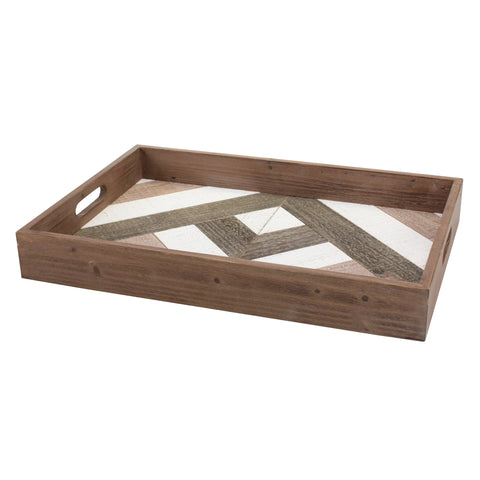 Geometric Wood Serving Tray with Handles | Rustic Home Decor | Stonebriar Collection