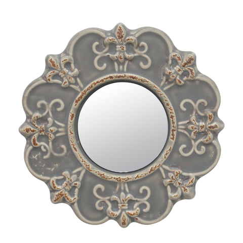 Gray Ceramic Mirror | Industrial Home Decor | Stonebriar Collection