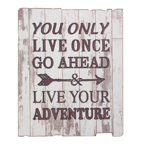 """Live Your Adventure"" Weathered White Rustic Wood Wall Art 
