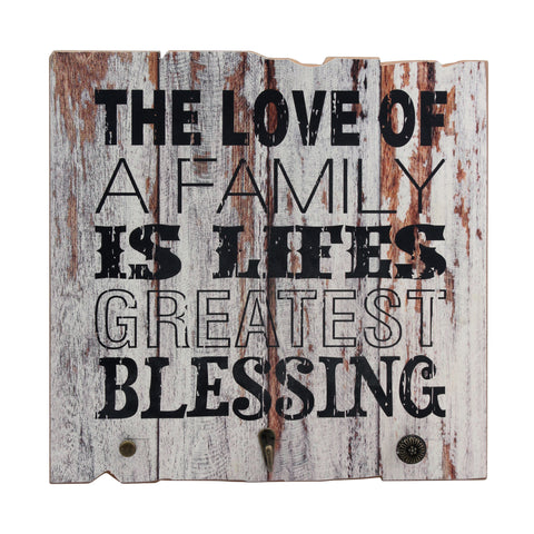 Wood Worn White Painted Love of Family Wall Art | Stonebriar Collection