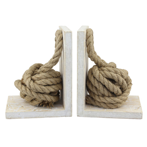 Nautical Rope White Wood Bookend Set, Off White (Set of 2)