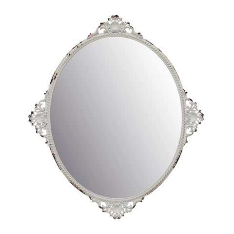Oval Antique White Metal Wall Mirror | Antique Home Decor | Stonebriar Collection