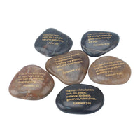 Polished River Stones with Inspirational Scriptures (Set of 6)