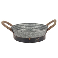 Round Rustic Metal Serving Tray with Handles | Stonebriar Collection